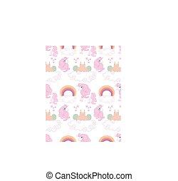 cute, enhjørninger, seamless, mønster