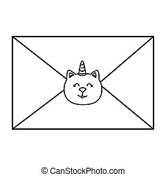 cute envelope with cat unicorn line style icon