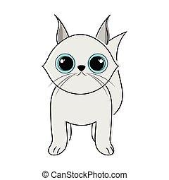 cute, esboço, gato, ícone