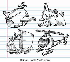 cute, esboço, transporte, doodle