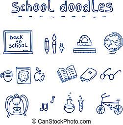 cute, escola, doodle, cobrança, ilustração, vetorial