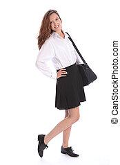 cute, escola secundária, menina adolescente, em, uniforme