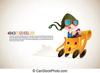 cute, escola, seu, menino, série, mochila, costas, correndo,...