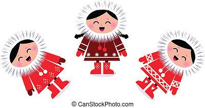 Cute eskimo children group isolated on white
