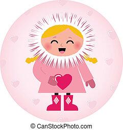 Cute Eskimo girl holding heart isolated on white