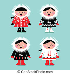Cute eskimo kids group isolated on white ( vector ) - Happy...