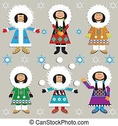 Cute Eskimos in their fancy parkas