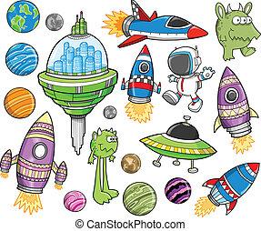 cute, espaço exterior, vetorial, desenho, jogo