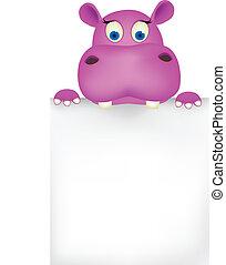 cute, espaço, hipopótamo, em branco
