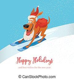 cute, esquiando, cace ícone
