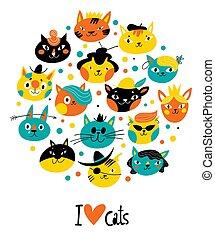 cute, estilo, amor, gatinhos, texto, vetorial, desenho, caráteres, vindima, gatos, tu