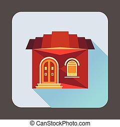 cute, estilo, apartamento, ícone casa, vermelho