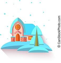 cute, estilo, apartamento, casa, ilustração, vetorial