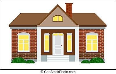 cute, estilo, apartamento, cor, casa, parede, desenho, vector., tijolo