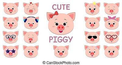 cute, estilo, caricatura, personagem, diferente, emoções, accessories., piggy, lote