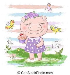 cute, estilo, cartão postal, butterflies., porca, flores, caricatura