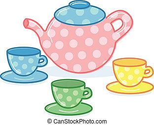 cute, estilo, clássicas, panela chá, ilustração, copos