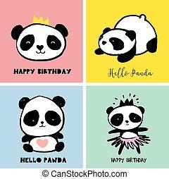 cute, estilo, coloridos, simples, cobrança, urso panda, cartazes, ilustrações, cartões