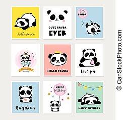 cute, estilo, coloridos, simples, saudação, cobrança, panda, aniversário, urso, cartazes, ilustrações, cartões