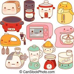 cute, estilo, jogo, eletrodomésticos, doce, chaleira,...