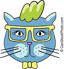 cute, estilo, moda, doodle, adesivo, 90s., remendo, trendy, badge., gato, 80s, quirky, cômico, sunglasses., caricatura
