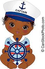 cute, estilo, vestido, americano africano, vetorial, náutico, menina bebê