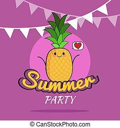 cute, estilo vida, childrens, verão, saudável, personagem, cartaz, ilustração, desenho, abacaxi, partido, caricatura, cartão postal