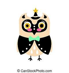 cute, estrela, coloridos, coruja, personagem, ilustração, pássaro, vetorial, chapéu, caricatura, esperto, roupas