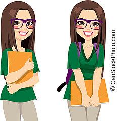 cute, estudante menina, nerdy