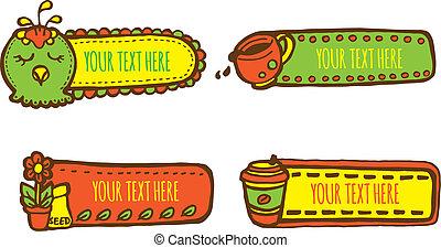 cute, etiquetas, doodle