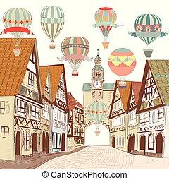 cute, europian, antigas, card.eps, boutique, ilustração, ar, casas, balloons., bandeira, ou