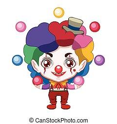 Cute evil clown juggling colorful balls