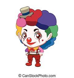 Cute evil clown side turn illustration