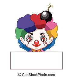 Cute evil clown with a blank banner