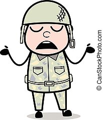 cute, exército, -, ilustração, soldado, vetorial, caricatura...