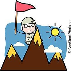 cute, exército, topo, -, ilustração, soldado, vetorial, colina, caricatura, homem