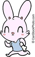 cute, executando, caricatura, coelho