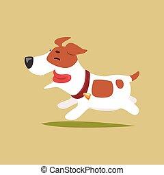 cute, executando, russell, engraçado, personagem, ilustração, vetorial, macaco, filhote cachorro, terrier