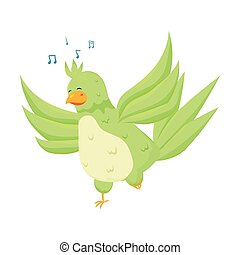 Cute exotic green parrot is singing a trendy song