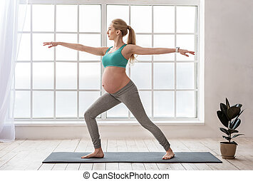 Cute expectant mother practicing her pilates routine at home