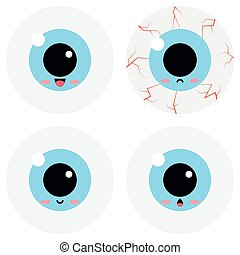 Cute eyeball emoticon vector set isolated on white background.