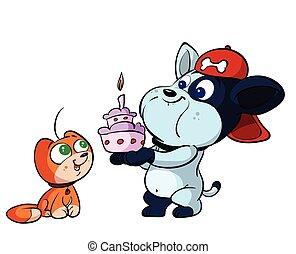 cute, fødselsdag, hund, kat