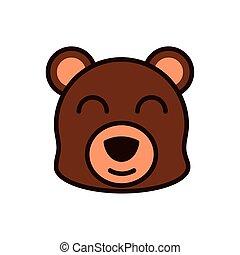 cute face bear animal cartoon icon