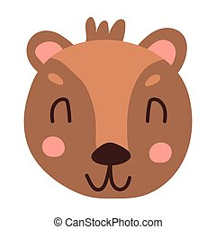 Cute face bear cartoon hand drawn vector illustration in flat style. Can be used for printing on t-shirts, children s clothing, children s invitation cards. Beautiful brown bear in scandinavian style
