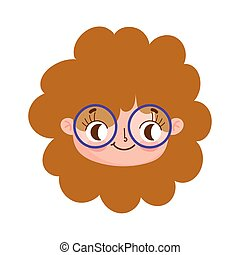 cute face curly hair girl with glasses facial expression