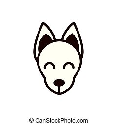 cute face fox animal cartoon icon thick line