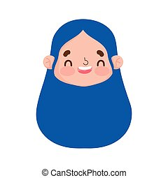cute face girl expression facial long hair design
