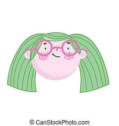 cute face girl with glasses cartoon character children
