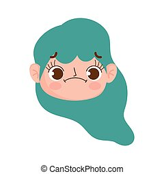 cute face girl with green hair and expression facial
