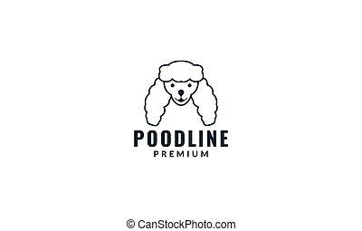 cute face head of poodle dog smile logo design line
